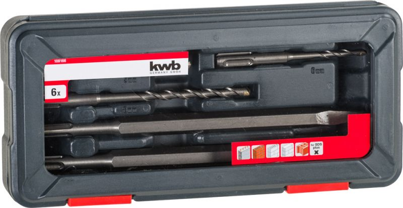 KWB SDS PLUS POWER BOX fúró, és vésőszár klt 6db kofferban